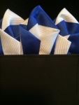 Blue & White Striped Pocket Square- OUT OF STOCK