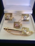 Crystal & Gold Square Cufflink and Tie Clip Set