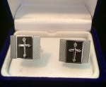 Black & Silver Cross Square Cufflink