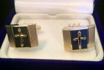 Black & Gold Cross Square Cufflink