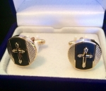 Black & Gold Cross Round Cufflink