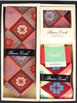 Multicolored Tie, Pocket Square, and Socks Box Set- Red