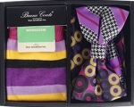 Multicolored Bow Tie, Pocket Square, and Socks Box Set- Purple