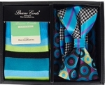 Multicolored Bow Tie, Pocket Square, and Socks Box Set- Turquoise
