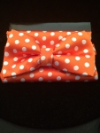 Orange & White Polka Dot Bow Tie