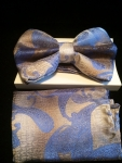 Periwinkle Paisley Bow Tie pre-tied