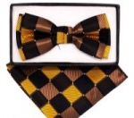 Kids Multicolored Check-patterned Bow Tie- Brown
