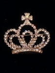 Clear Crystal Crown Brooch