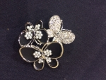 Gathered Butterflies Brooch with Crystal and Pearl body-black
