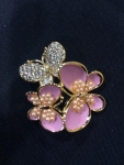 Gathered Butterflies Brooch with Crystal and Pearl body-pink- Sold out