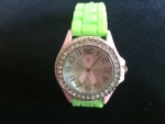 Green and Pink Bling Breast Cancer Ribbon Watch