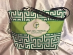 The GIRLFRIENDS, Inc. Kelly Green and Lime Logo Greek Key Shopper Tote