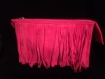 PINK FRINGED COSMETIC BAG/CLUTCH