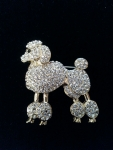 STUNNING CRYSTAL POODLE PIN