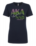 Initiated at NU LAMBDA OMEGA BLACK Chapter Bling T-Shirt (Sizes small to x-large)