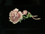 Large Pink & Green Crystal Rose Brooch with Stem