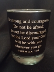 Leather Wrap Scripture Engraved Soy Candle - Joshua 1:9