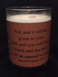 Leather Wrap Scripture Engraved Soy Candle - Matthew 7:7