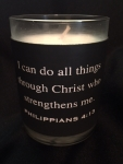 Leather Wrap Scripture Engraved Soy Candle - Philippians 4:13
