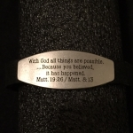 Scripture Bracelet with Plate - Matthew 19:26, 8:13