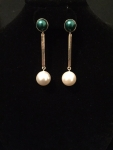 Green & Cream Pearl Barred Out Earrings