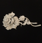 Large Clear Crystal Rose Brooch with Stem