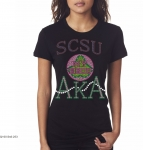 S CAROLINA STATE/AKA- MY HBCU BLACK Chapter Bling T-Shirt (Sizes 2x-large-3x-large)
