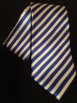 Royal Blue and White Thin Striped Neck Tie and Hankie