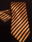 Black and Gold Thin Striped Neck Tie and Hankie