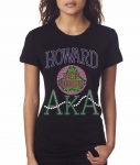 HOWARD UNIV/AKA- MY HBCU BLACK Chapter Bling T-Shirt (Sizes small - x-large)