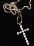 Pearl Encrusted Cross Necklace