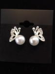 Pearl and Crystal Butterfly Earrings