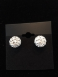 Encrusted  9MM Crystal Ball Earrings-White background