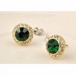 EMERALD GREEN and CRYSTAL STUD EARRINGS