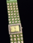 Lime Green Leather and Crystal Watch