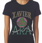 XAVIER/AKA- MY HBCU BLACK Chapter Bling T-Shirt (Sizes small-x-large)