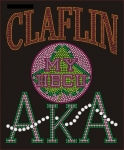 CLAFLIN UNIV/AKA- MY HBCU BLACK Chapter Bling T-Shirt (Sizes small-x-large)
