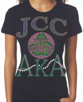 JARVIS CHRISTIAN COLLEGE/AKA- MY HBCU BLACK Chapter Bling T-Shirt (Sizes 2x-large-3x-large)
