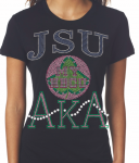 JACKSON STATE/AKA- MY HBCU BLACK Chapter Bling T-Shirt (Sizes 2x-large- 3x-large)