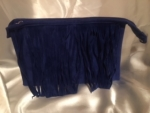 BLUE FRINGED COSMETIC BAG/CLUTCH