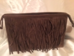 BROWN FRINGED COSMETIC BAG/CLUTCH