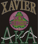 XAVIER UNIVERSITY/AKA- MY HBCU BLACK Chapter Bling T-Shirt (Sizes 2x-large- 3x-large)
