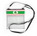 AKA Pink and Green Shield Greek Key Clear Stadium Cross body bag