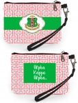 AKA Pink and Green Shield Greek Key Wristlet