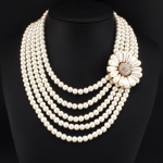 Elegant Pearl Flower Statement Necklace