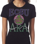 ELIZABETH CITY STATE/AKA- MY HBCU BLACK Chapter Bling T-Shirt (Sizes Small-  X-large)
