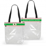 AKA Pink and Green Shield Greek Key Clear STADIUM TOTE BAG
