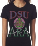 DELAWARE STATE UNIVERSITY/AKA- MY HBCU BLACK Chapter Bling T-Shirt (Sizes 2x-large-3x-large)