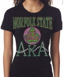 NORFOLK STATE UNIVERSITY/AKA- MY HBCU BLACK Chapter Bling T-Shirt (Sizes 2x-large - 3x-large)