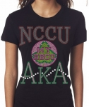 NORTH CAROLINA CENTRAL UNIVERSITY/AKA- MY HBCU BLACK Chapter Bling T-Shirt (Sizes small - x-large)